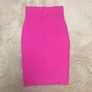 Pink Bebe Midi Bodycon Skirt